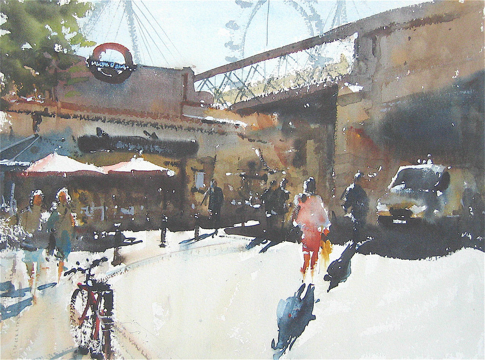 Temple Station, London:  11 x 15.5 in: SOLD
