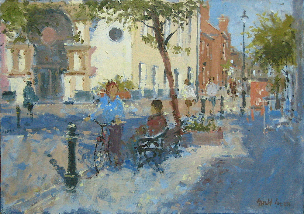 """""""Conversation"""" 12 x 16 in oil. The girl on the bike just turned up and suddenly became the focus of the painting."""