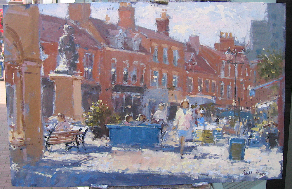 """""""Towards the High Street"""" 14 x 20 in oil:"""