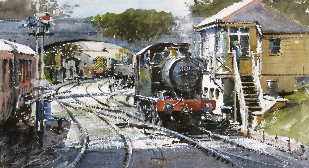 GWR 5600 Class no. 6695 at Swanage: 13 x 24 in: watercolour: £1150