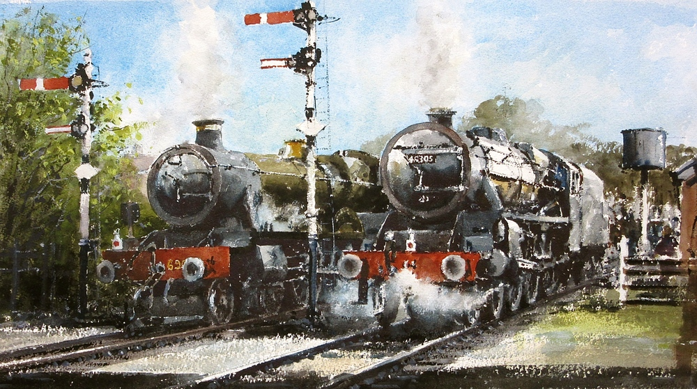 Side by Side Waiting to Go: 13 x 24 in: watercolour: £1150