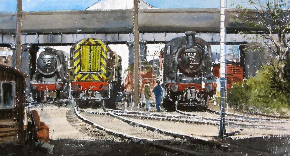 Work in Progress Loughborough Shed: 13 x 24 in: watercolour: £1150