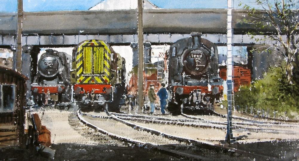 Work in Progress Loughborough Shed: 13 x 24 in: watercolour: £1150