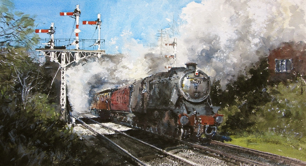 LMS Stanier 8F no. 48624 at Beeches Road Bridge: 13 x 24 in: watercolour: £1150