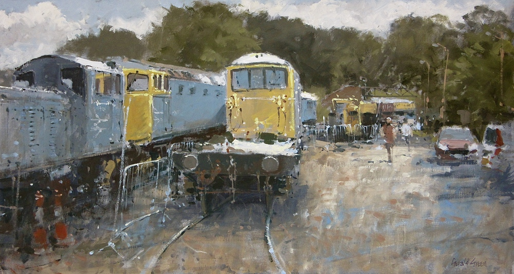 Shackerstone Sidings on The Battlefield Line Leicestershire: 13 x 24 in: oil: £1250