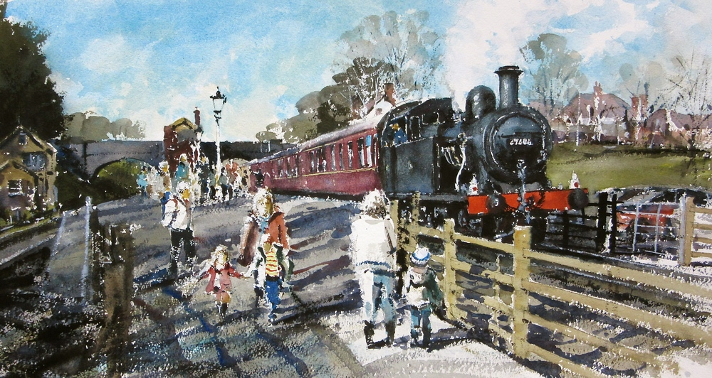 Fowler Class 3F no. 47406 About to Depart: 13 x 24 in: watercolour: SOLD