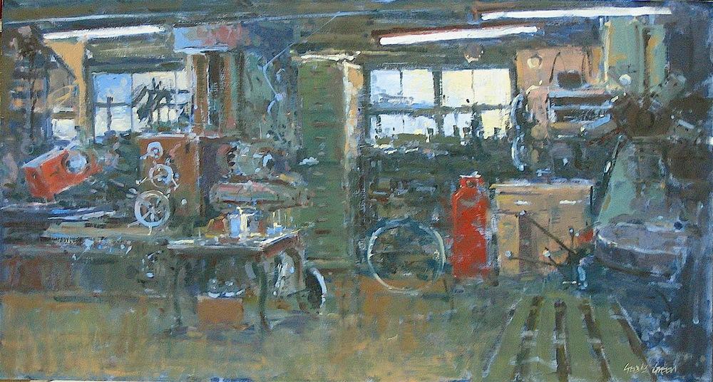 In the Workshop: plein air oil: 13 x 24 in