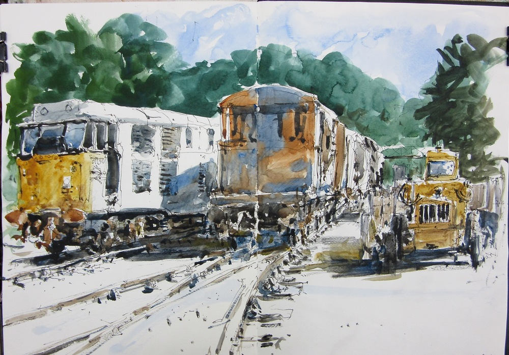 In the Sidings: watercolour sketch: 11 x 16 in