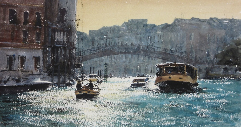 Towards the Academia Bridge Venice: 13 x 24 in: SOLD