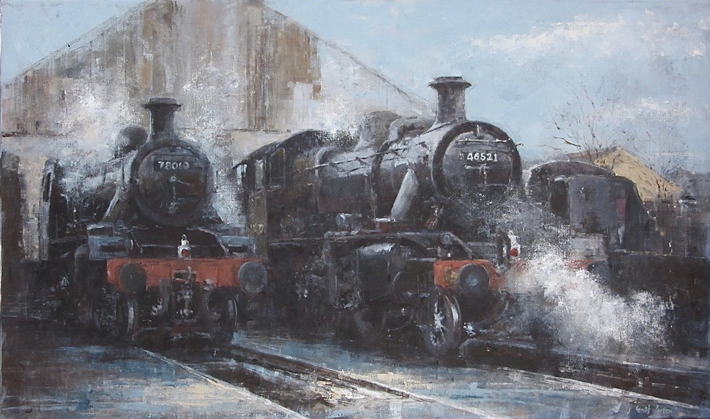 Steaming Up at Loughborough Shed on the Great Central Railway: oil: 25 x 42 in