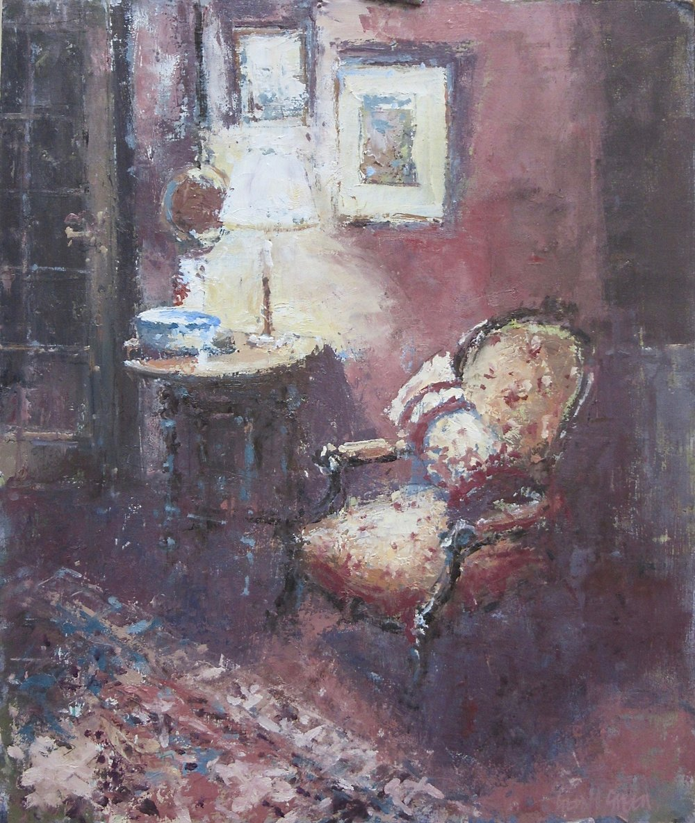 The Reading Lamp: 16.5 x 11.75 in: SOLD