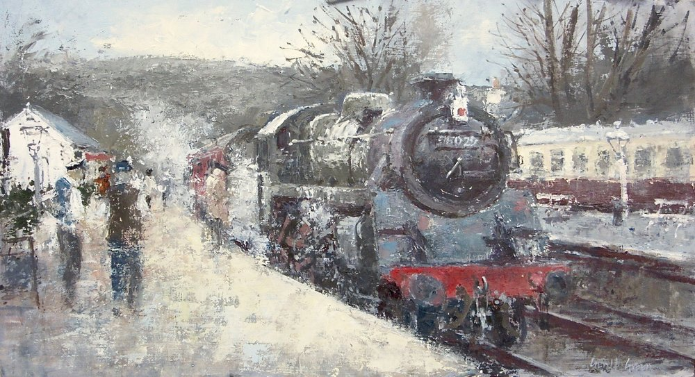 Waiting at Grosmont: oil: 13 x 24 in: £1550