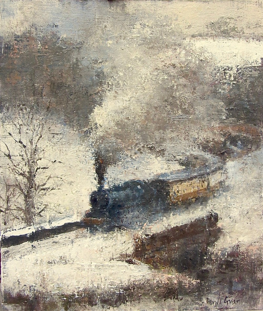 Snow and Steam on the NYMR: oil: 16.5 x 11.75 in: £900