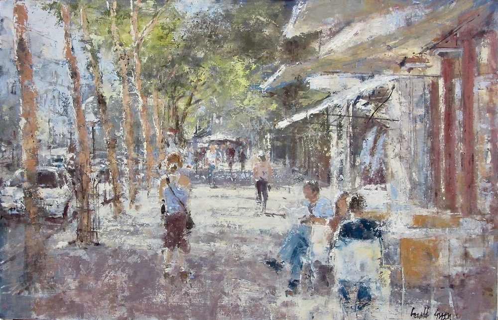 Along the Boulevard St. Germain Paris: 13 x 20 in: £1400