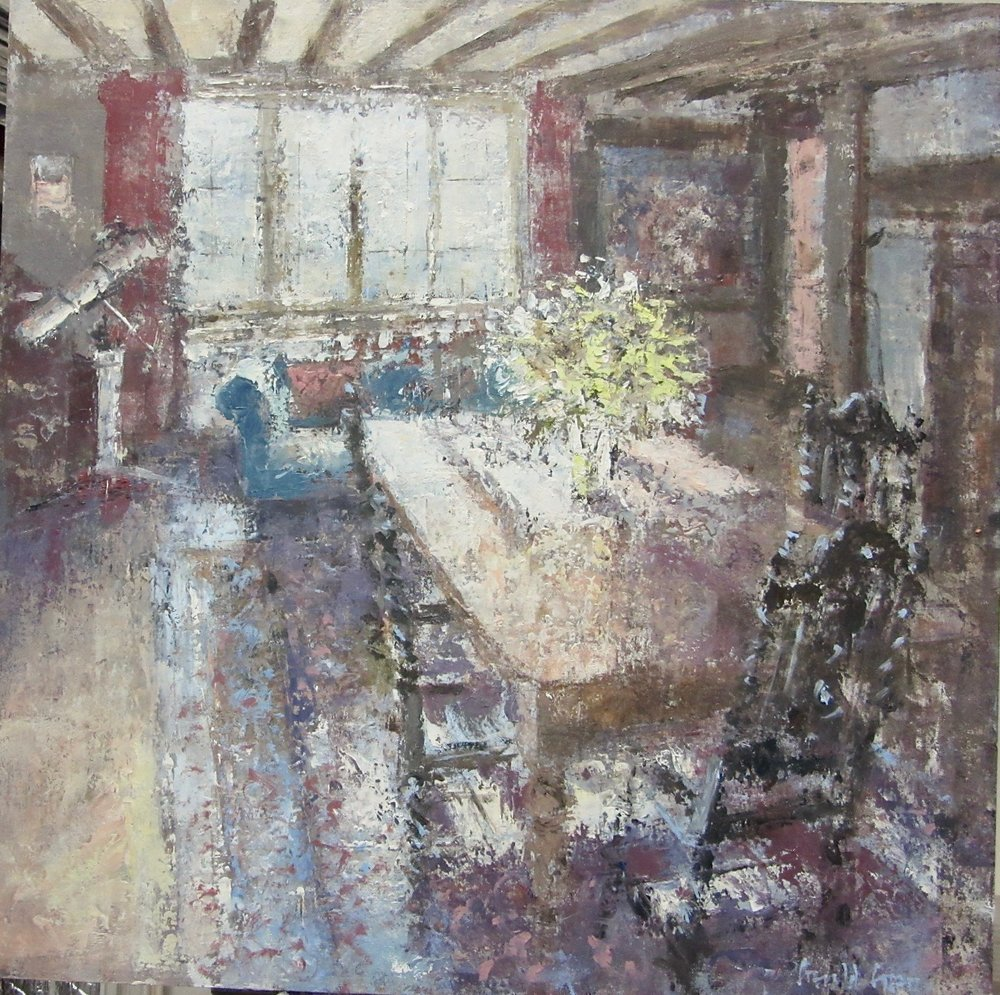 Lillies in the Dining Room: 16 x 16 in: £1370    (currently at The Wykeham Gallery Stockbridge)