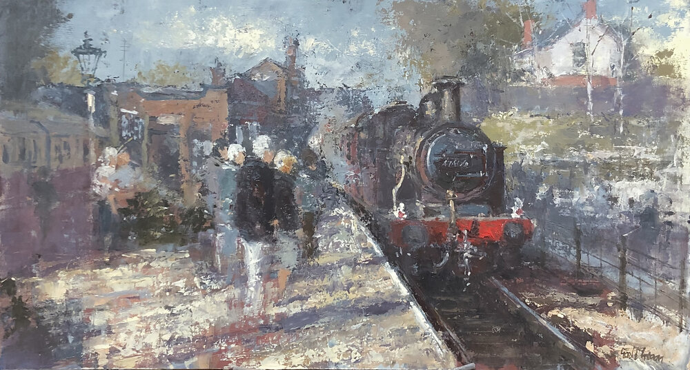 Arriving at Rothley on the GCR: 13 x 24 in: oil