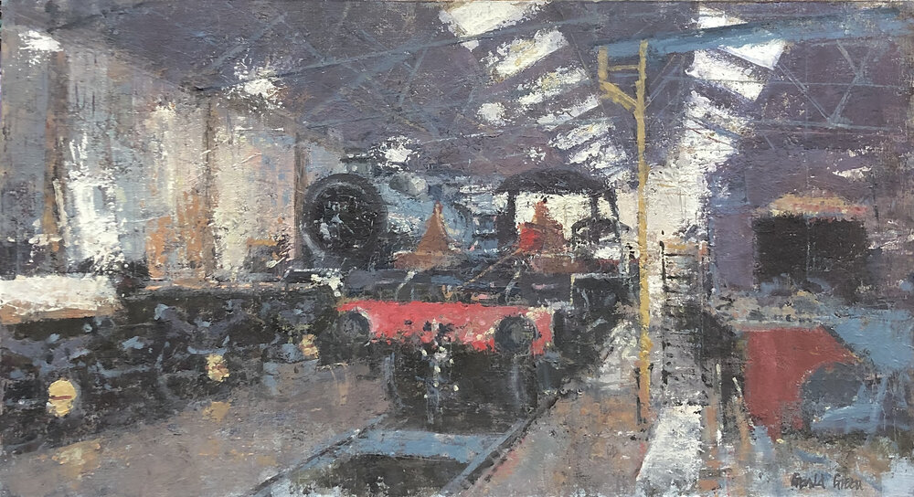 In the Engine Shed on the GCR: 13 x 24 in: oil