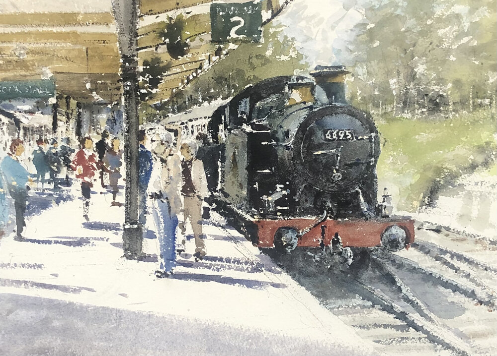 6695 at Swanage Station: 13 x 24 in: watercolour: £1150