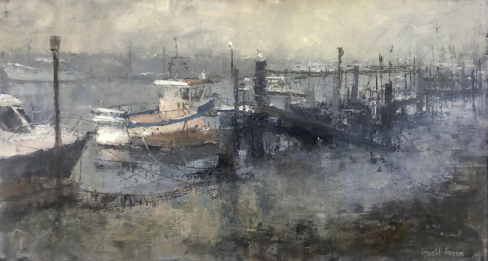 Mist at Southwold Quay: 13 x 24 in: £1550    (currently at The Wykeham Gallery Stockbridge)
