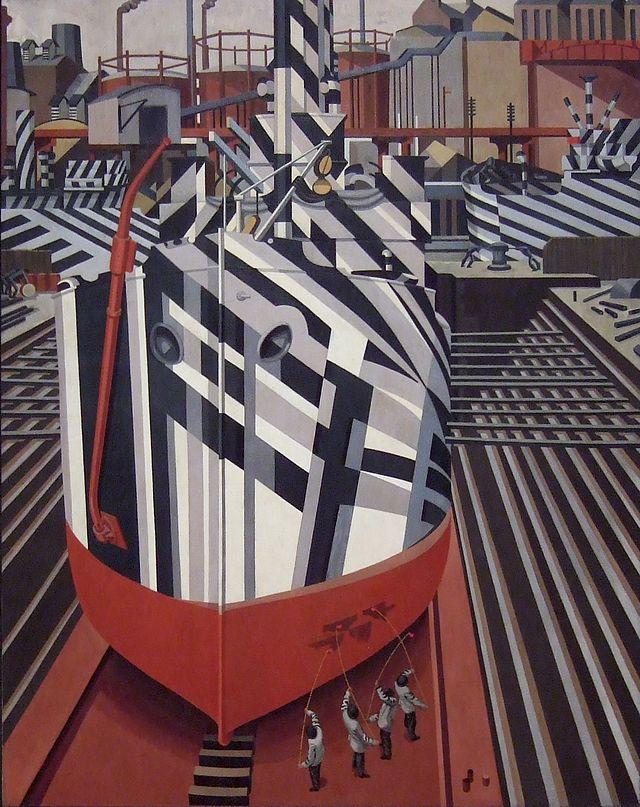 Camouflage en cale sèche à Liverpool(1919), peinture à l'huile d'Edward Wadsworth qui supervisa le camouflage de plus de deux cent navires militaires.