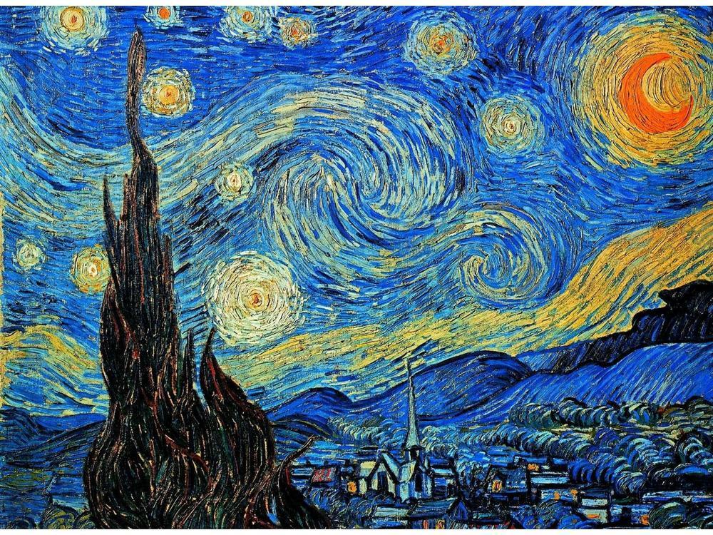 La Nuit Etoilée (1889) du peintre néerlandaisVincent Van Goghreprésente le village de Saint-Rémy-de-Provence vu depuis la chambre de Van Gogh dans l'asile dumonastère Saint-Paul-de-Mausole.