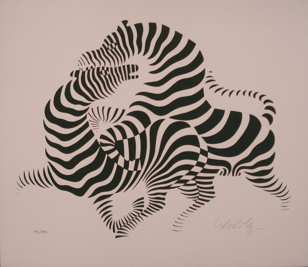 Combat de zèbres vers la gauche(vers 1975-1980)Sérigraphie en couleurs (noir sur fond rose) [300 x 260] de Victor Vasarely (1906-1997).