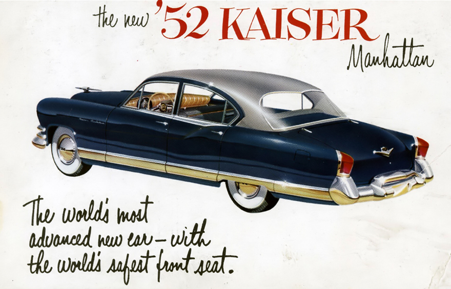 Une publicité pour la Kaiser Manhattan de 1952, avec un retour latéral caractéristique du pli Hofmeister BMW qui apparaitra en 1961.