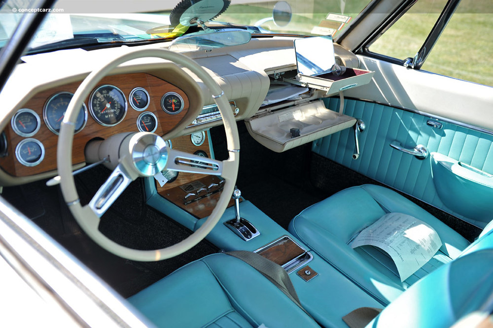 1963-Studebaker Avanti R2 (Raymond Loewy RULES!!! un tiroir dans la boîte à gants quoi! juste classe!)