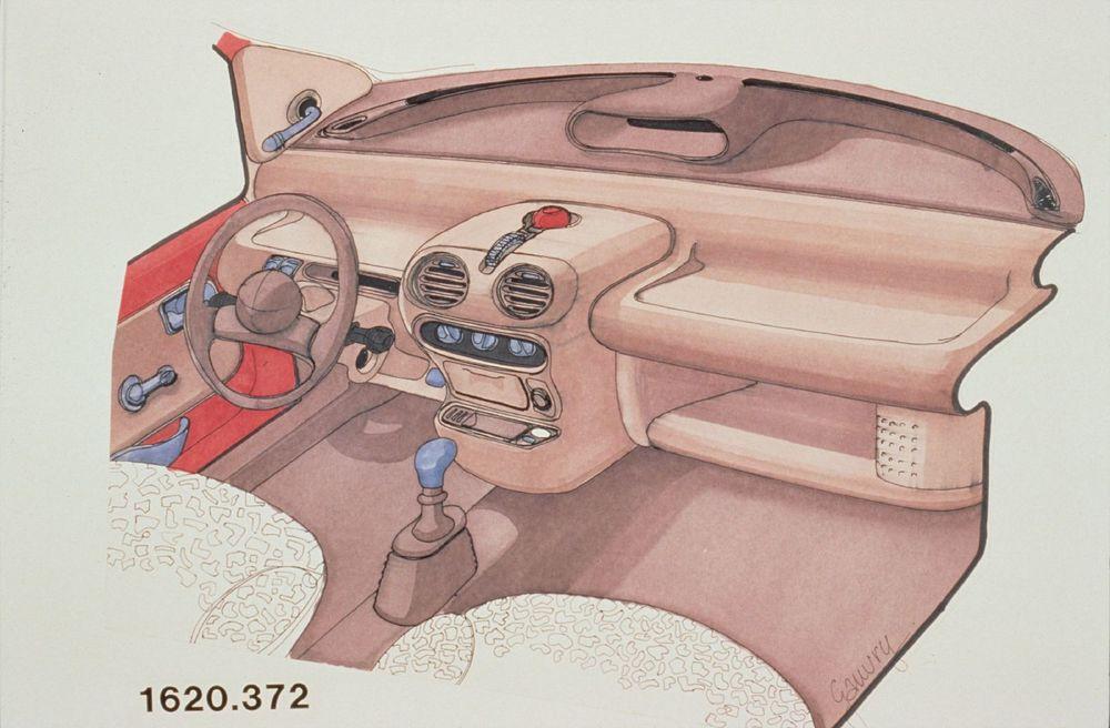 Intérieur de Twingo esquissé par Gérard Gauvry.