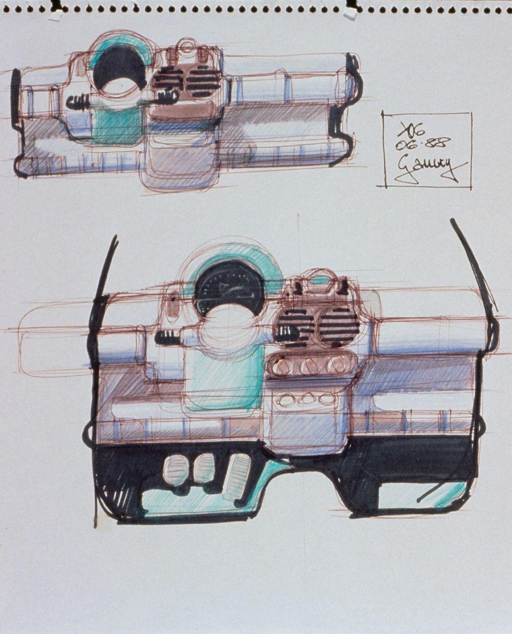 On note déjà sur ce croquis les grandes touches graphiques qui feront l'originalité de l'intérieur de la Twingo, code couleurs, gros boutons et bouches de ventilateurs oversized.