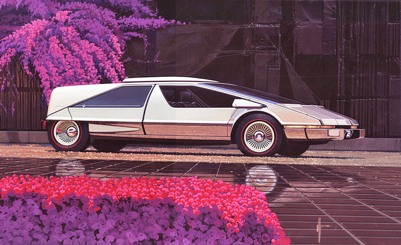 Illustration pour la couverture d'un magazine automobile, 1976