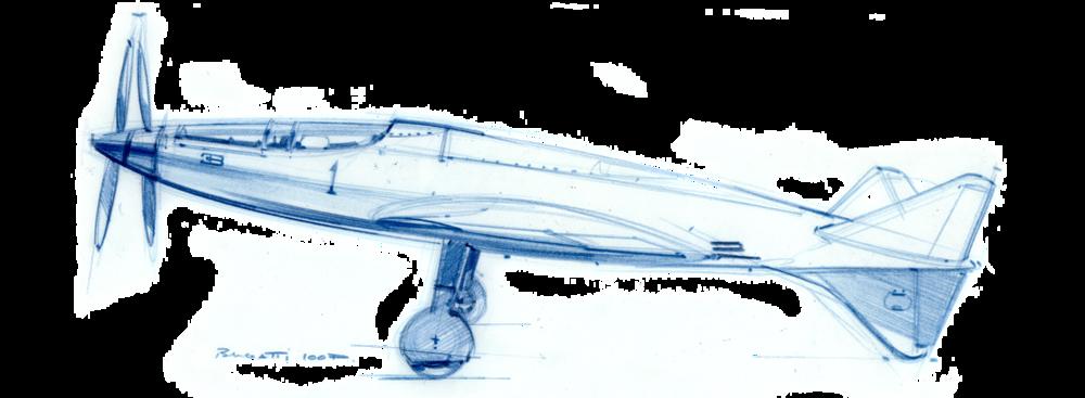 Croquis d'étude du Bugatti 100P réalisé par Laurent Negroni sur son blog SpeedBirds.