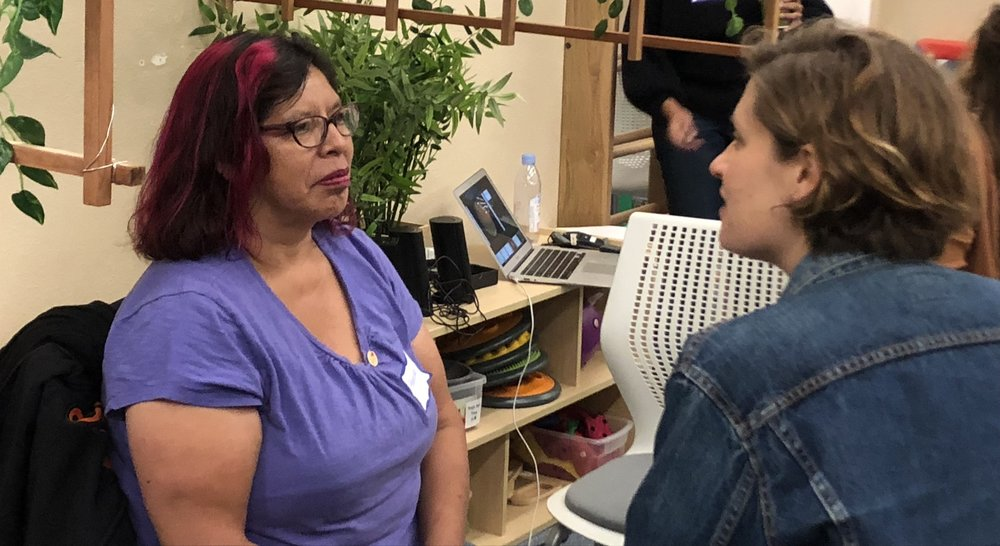 Merced Rocha, Infant Lead Teacher at New Generations Child Development Center talks with Sarah Flores, Director of Communications at The Early Learning Lab