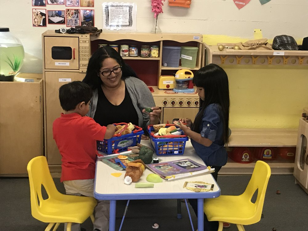 Stephanie Rivera with her children at Wu Yee's Westside Child Development Center