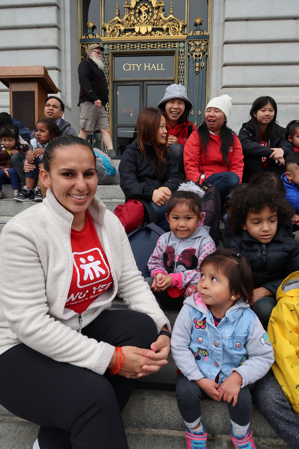 Dolores Leon representing Wu Yee at the 2018 Walk Around the Block rally at San Francisco City Hall