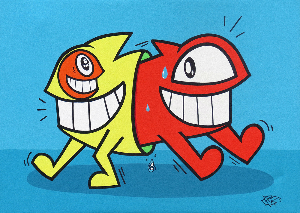 Pez_Happy Colours 1_acylics and markers on canvas_50x70x5cm_£1200.jpg