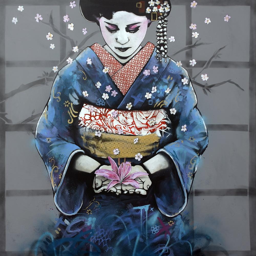 'Fragile Begining, Certain End'  Spray paint and acrylic on canvas 120 x 120 cm £2700 005.jpg