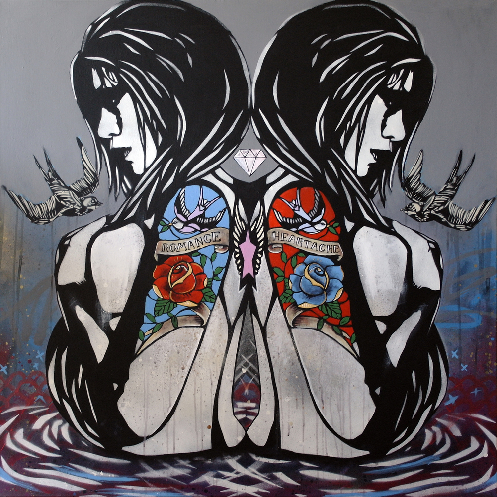 'ABeatingHeart'Acrylic and Spray paint on canvas, 100x100cm, £2200 001.jpg