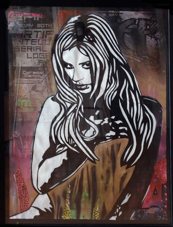'Fleece', Origional Work, spray paint and acrylic on paper, £550 (framed) SOLD 011.jpg