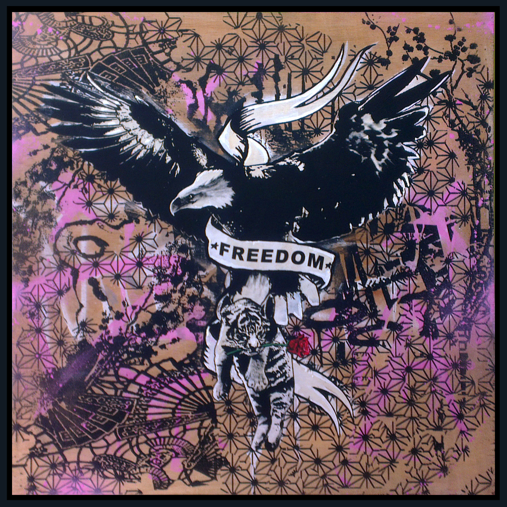 Freedom, Acrylic and Spraypaint on wood in blck tray frame, £900 030.jpg