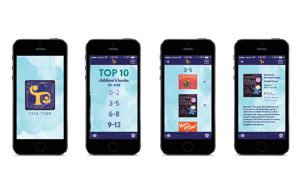 The Tale Time app allows parents to quickly access a Top 10 book list sorted by age.