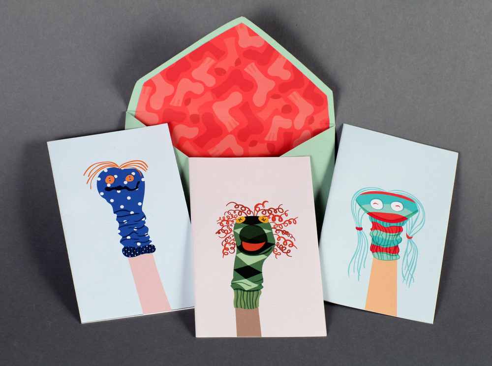 Sock puppet greeting cards with sock envelope liner.