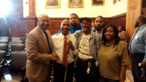 GNCPR's Monica Peters at private press conference with Mayor Michael Nutter at City Hall Mayor's Reception Room (l) and client Institute for the Development of African American Youth, Executive Director S. Archye Leacock and Associate Director Neil Ray (rear, blue hoodie), Brandon Watts (rear) and Wayne Jacobs