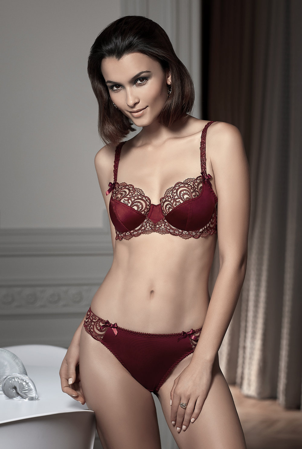 Ode à l'Amour   fuller-figure balconnet, sizes 100 c ; 85 to 100 d, e, f : $89      String, sizes 38 to 44 : $57