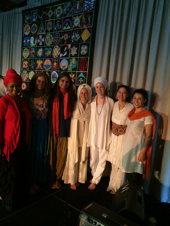 From Left-Right: C.C. White, Wah!, Me, Snatam Kaur, Ajeet Kaur Khalsa, Donna De Lory, Gina Salá