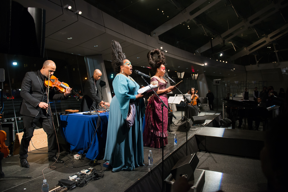 "Kehinde Wiley, ""A New Republic"" opening gala performance (Harlem Chamber Players feat. singers Lucia Bradford and Janinah Burnett) photo by John Keon"