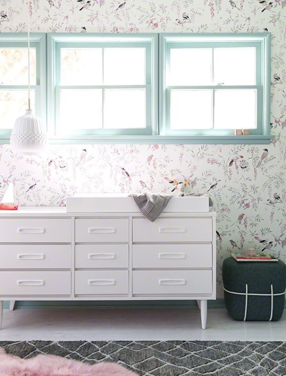 REALLY want wallpaper? Keep it classic and forget the Power Ranger banners (I'm really dating myself here). Find a thrift store credenza and paint it all one color, add some new hardware...keep it simple and elegant.