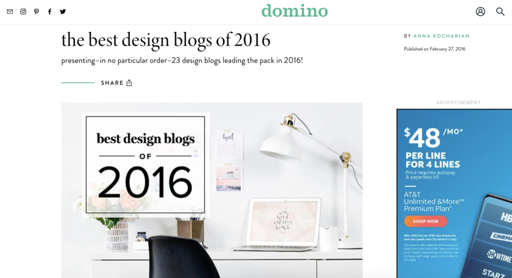 DOMINO MAGAZINE + BEST DESIGN BLOGS 2016 Studio Matsalla Was Named One Of  The Best Design