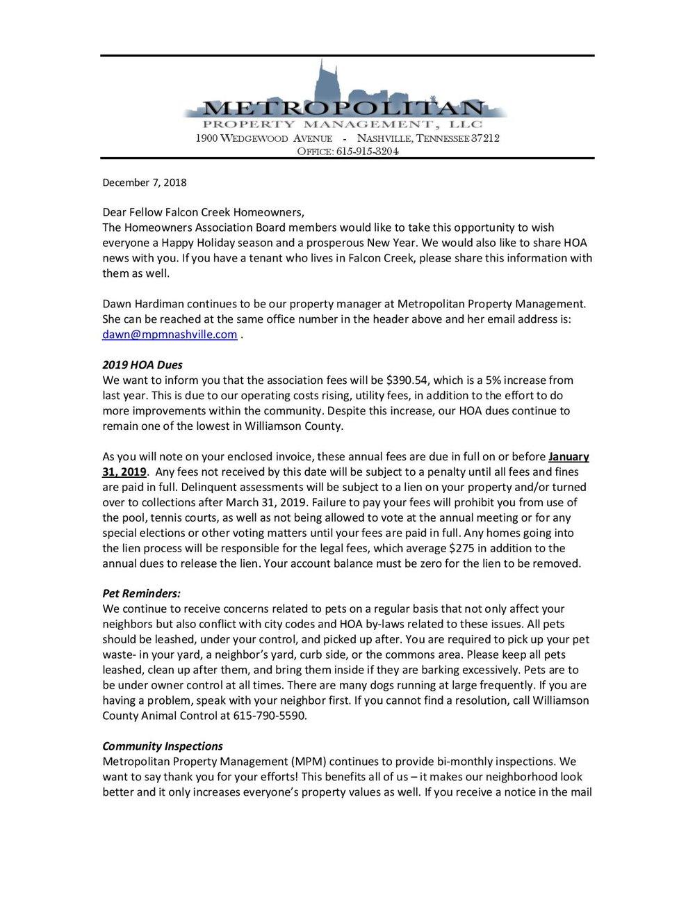 2019 annual budget letter falcon creek hoa