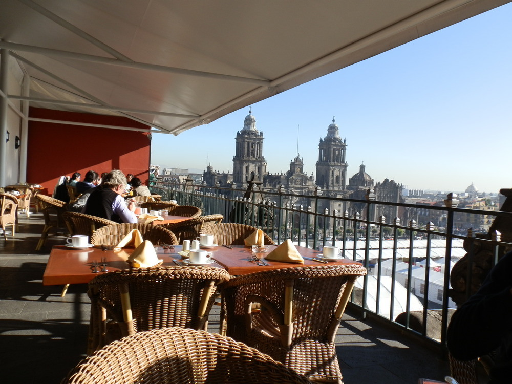 VIEW FROM GRAN HOTEL ONTO THE ZOCALO AND CATHEDRAL